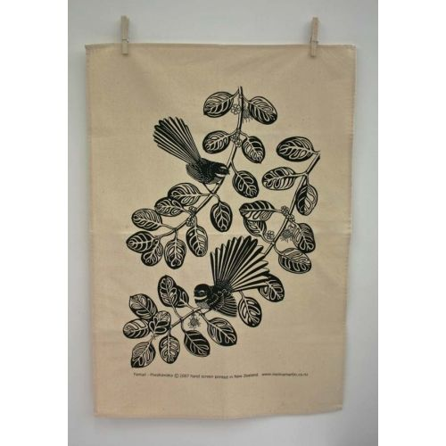 Fantail - Piwakawaka Tea Towel available at The Poi Room