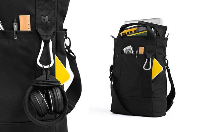 A zippered front pocket and hidden side pockets offer dedicated space for smaller items