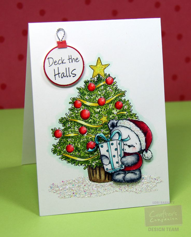Designed by Lori Barnett. Stamps from Crafter' Companion Party Paws Christmas Collection - Christmas Magic.  Stamped on Spectrum Noir Ultra Smooth Premium White Cardstock. Colored with  Spectrum Noir Markers: Blues Areas - BT1, BT3, BT5; Green Areas - DG2, GC2, DG3; Red Areas - PP3, CR5, DR2, DR6; Yellow Areas - CT1, CT3, GB6;  Brown Areas - EB2, EB6, EB8; Panda - CR2, IG1, IG4, IG6, IG8, Blender