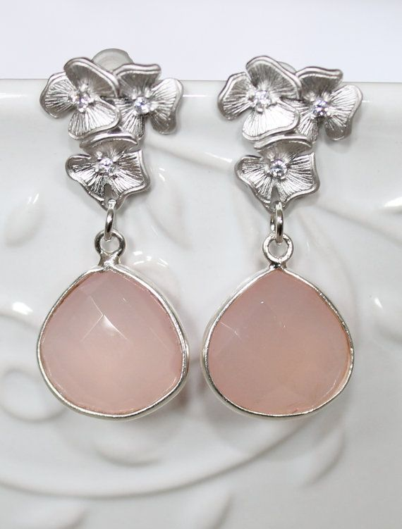 Pink Chalcedony Drops in Sterling Silver Bezel Hanging by NHjewel, $56.00