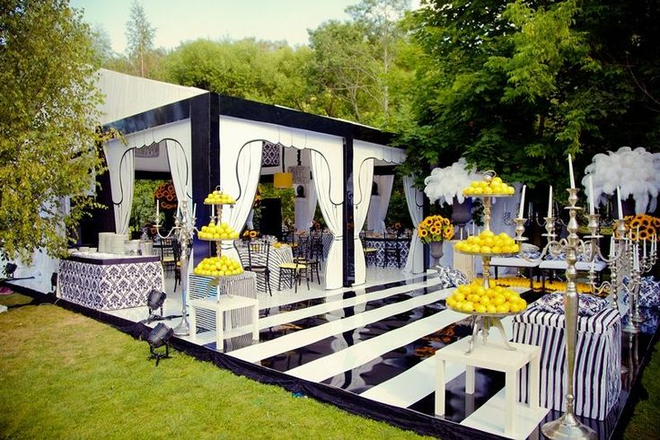 Modern black, white and yellow wedding or event decor