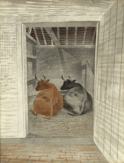 """Two Cows"" by Eric Ravilious, 1935 (watercolour)"