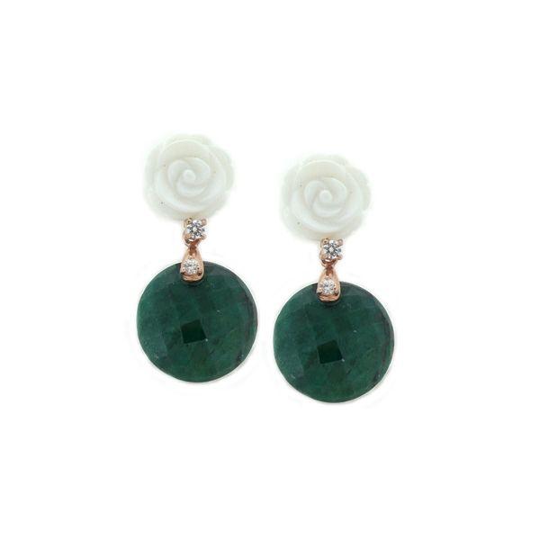 Pendientes concha y jade verde