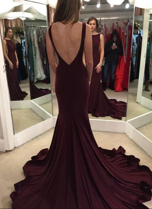 Scoop Sweep Train Maroon Backless Prom Dress,Elegant Evening