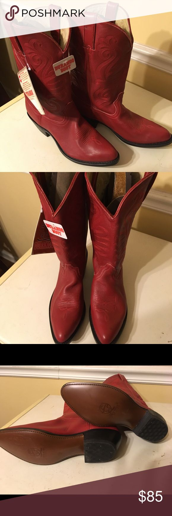 """Women's 8.5 Cowboy boot Durango boots style number RD4105, new with tags! Women's size 8.5 red cowboy cowgirl boots. Purchased last year for a specific event and never got a chance to wear. Still selling in stores for $130. Great all year around! **slight discoloration on the toe of one boot, obtained when in storage.  Women's Durango 11"""" Western Work Boots RD4105 Cushion Insole with Flex Forepart Taped Side Seams Cowgirl Heel Leather Shaft Lining Leather Upper Hand Stained Composition…"""