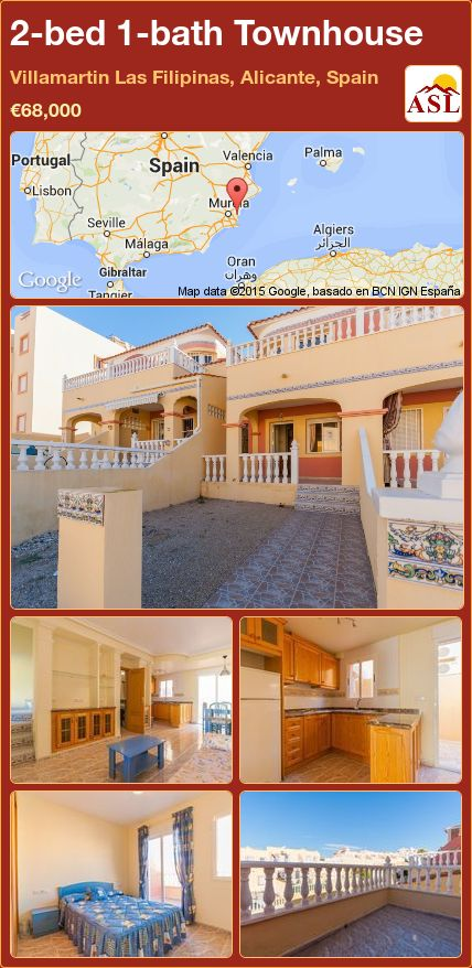 2-bed 1-bath Townhouse in Villamartin   Las Filipinas, Alicante, Spain ►€68,000 #PropertyForSaleInSpain