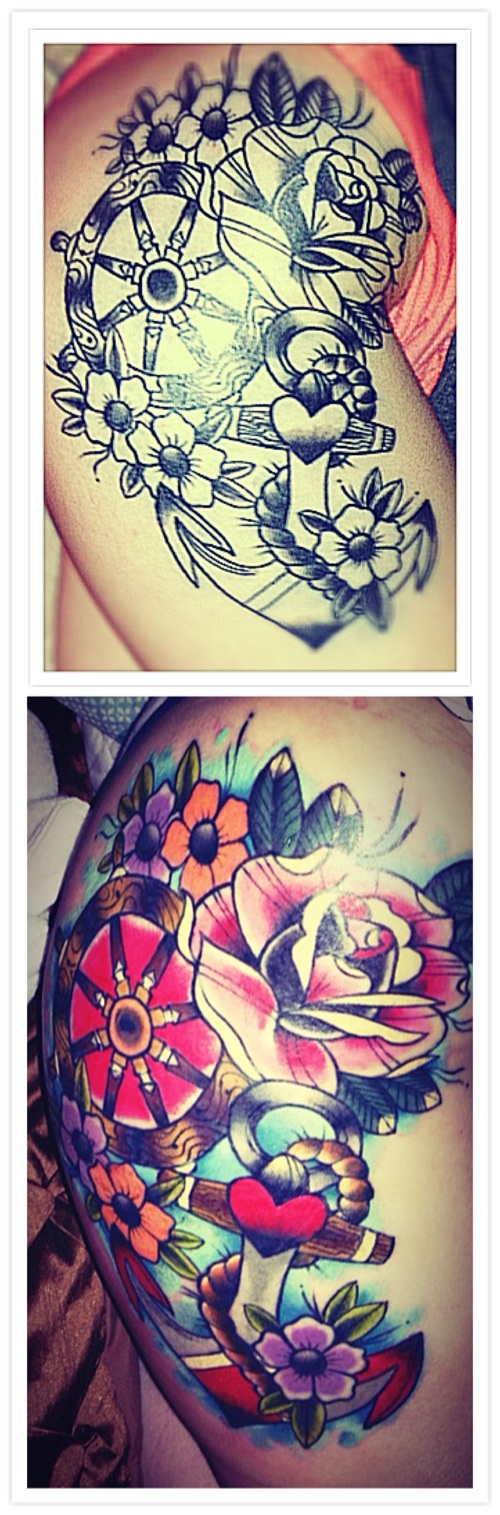 Tattoo. Thigh. Minus the rose add the swallow black an white better then color?