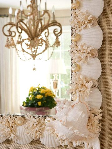 She Sells Seashells  On a trip to Palm Beach, Florida, Suzie commissioned an artist to design and create this shell mirror for the dining room.