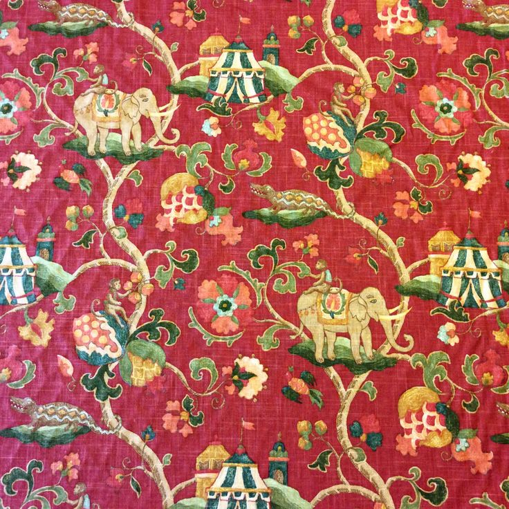 3030R Uzbek Toile Floral Asian Elephant Cotton Linen Drapery Fabric | eBay