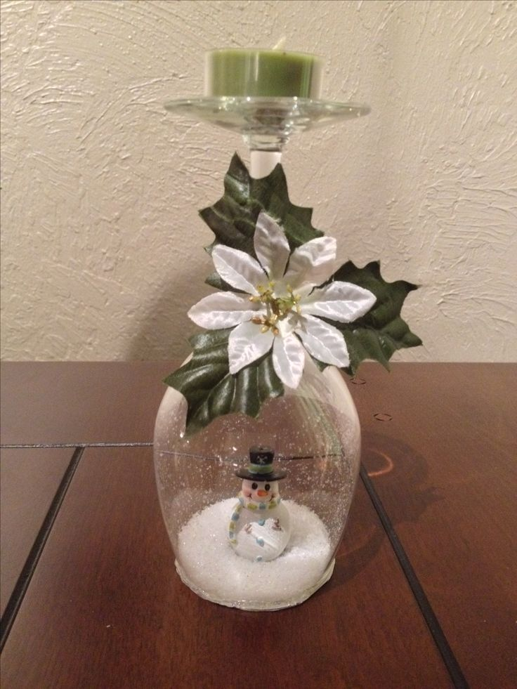 Snowman wine glass snow globe. Christmas decor.