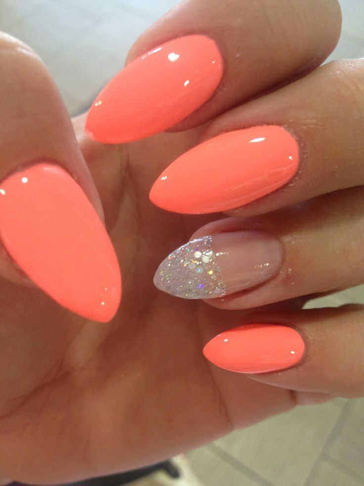 coral gel nails ideas