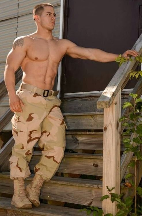 Uniform in military muscle men