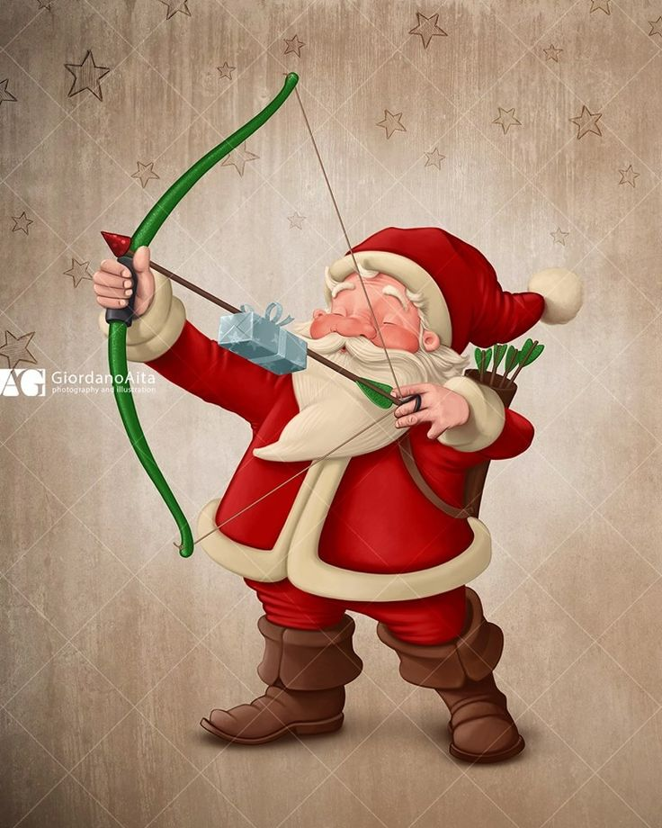 Santa Claus Archer $ Contact me for illustration, poster, greetings card and more $