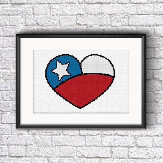 Chilean Heart Cross Stitch Pattern - By Stitch & Design
