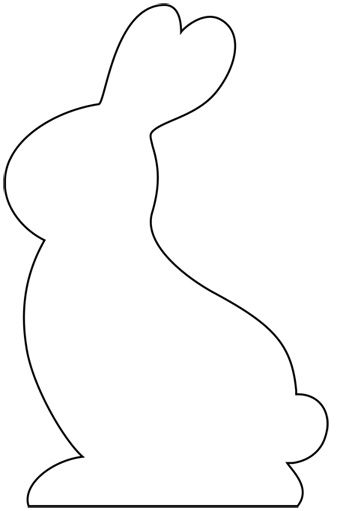 Bunny Silhouette Template | ... photo-outline-of-a-happy-bunny-rabbit-sitting-with-a-daisy-flower.html