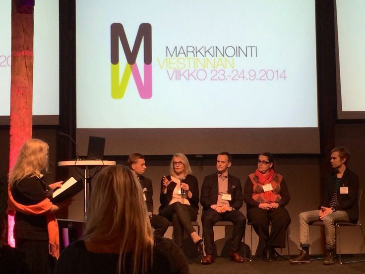 Our CEO Maija at the panel of Marketing Communications Week talking about media monitoring.