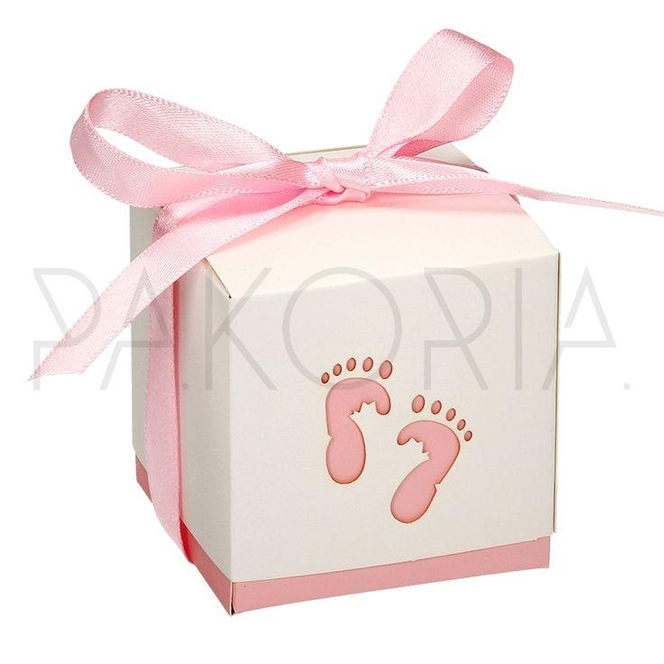 Pudełko RÓŻOWE STOPY z kokardą. Idealne na chrzest, roczek, baby shower, gender party, kinder party. Inspiracje. pakoria.pl Inspiration, pink cute baby feet,  little princess