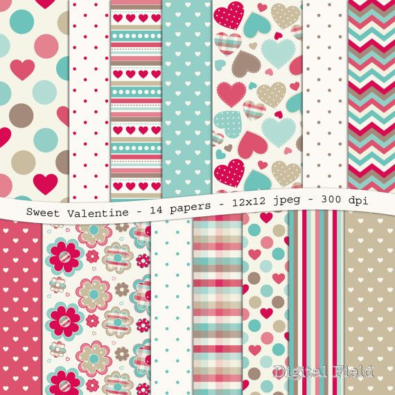 INSTANT DOWNLOAD Sweet Valentine digital by digitalfield on Etsy, $3.25