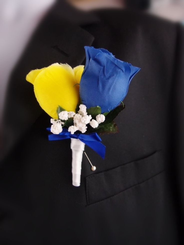 Royal Blue-Yellow:Men Prom Wedding Boutonniere Silk flower  #Angelisabella