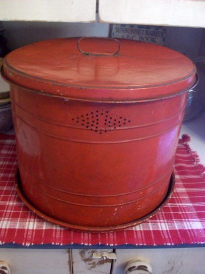 Vintage Kitchen Primitive Red Bread Cake Tin