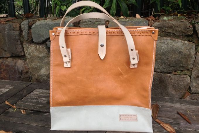 2 Tone Brogue Detail Tote by Savior Brand Co