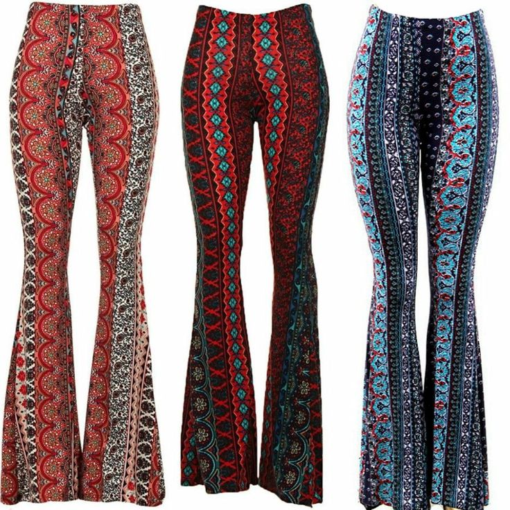 Border Print Bell Bottom Pants Moroccan Boho Paisley Super Flare Brushed Knit #WeekendinVegas #BellBottoms