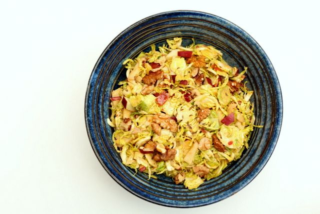 Caraway, Apple and Brussles Sprout Slaw with a mango yoghurt dressing @ Recipes From A Pantry