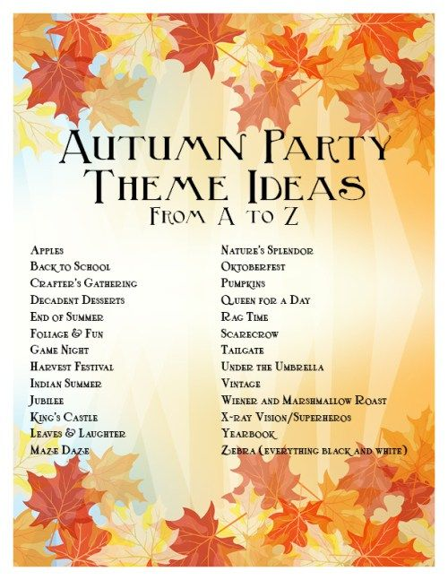 Autumn Party Ideas from A-Z