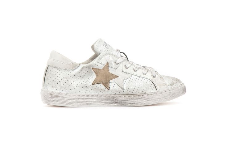 Sneaker 2 Two Star uomo 2su1400 low bianco taupe spring summer 2017