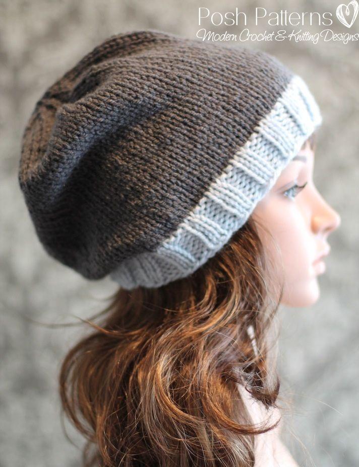 Atractivo Slouchy Knit Hat Pattern Straight Needles Ilustración ...