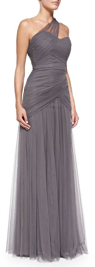 Monique Lhuillier Bridesmaids One-Shoulder Draped Tulle Gown, Slate, mother of…