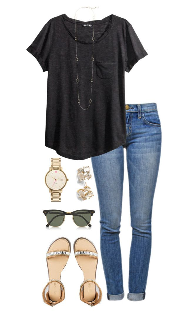 """""""PLL finale tonight!'"""" by alexisfloyd ❤ liked on Polyvore featuring Current/Elliott, H&M, Kate Spade, Kendra Scott and Ray-Ban"""