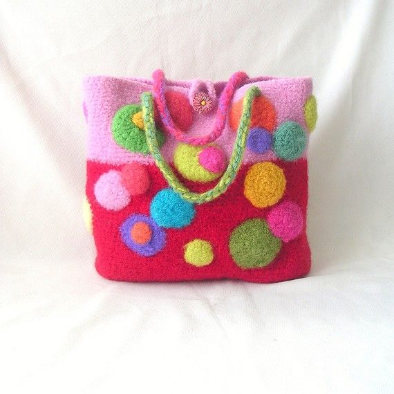Confetti Colorful Felted Bag Crochet Felt Pattern by GraceG2, $13.50