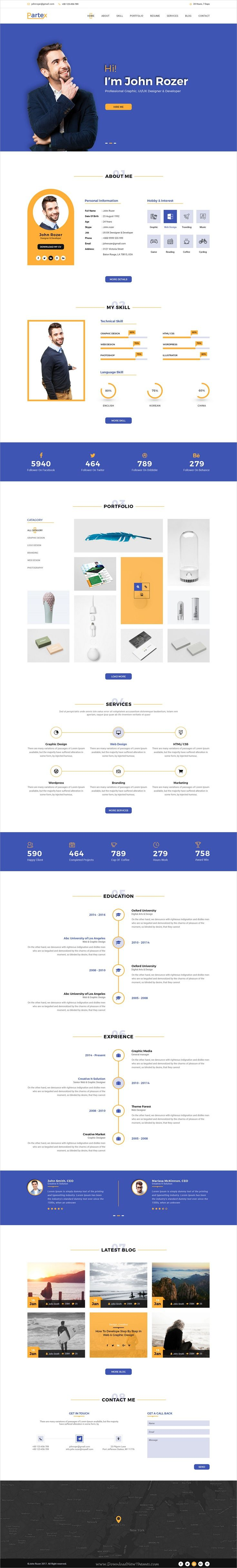 Partex is a #onepage #PSD template for #resume, CV and personal #portfolio showcase website download now➩ https://themeforest.net/item/partex-one-page-resume-cv-personal-portfolio-psd-template/19463522?ref=Datasata