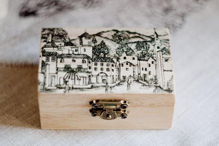 "Small wooden box ""Old street"" - Gift ideas wedding decor ring bearer box jewelry box black ecofriendly missvintagewedding (17.60 USD) by MissVintageWedding"