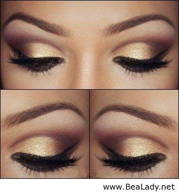 Gold eyeshadow look. Great for summer