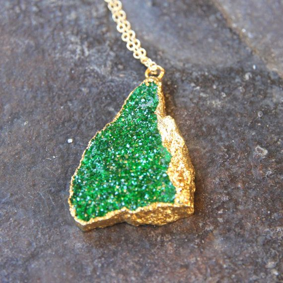 24k Gold Dipped Emerald Green Uravorite Pendant and 18k Gold Chain Necklace.