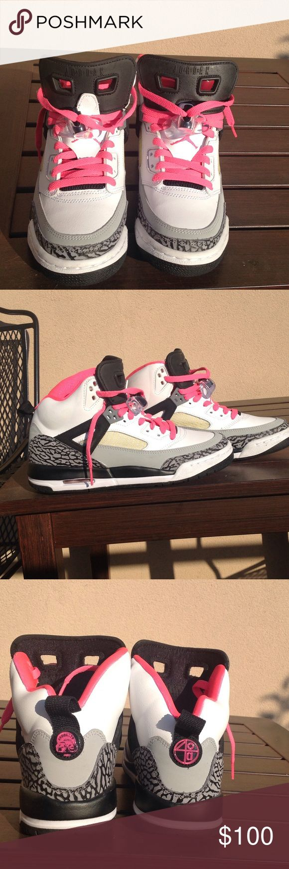 Nike Unisex Jordan Spizike White/Hyper Pink/Black Youth 6Y Jordan Spizike's worn twice. In excellent condition. No scuff marks. Comes with clear lace locks. Nike Shoes Sneakers