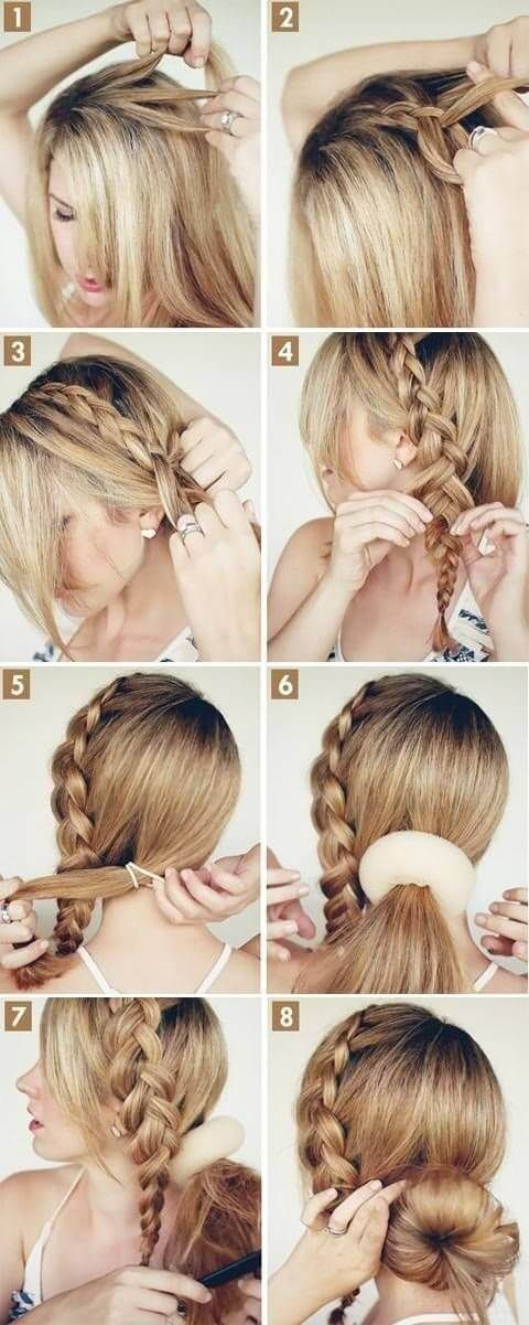 Step by step pics for donut bun on the side with braid