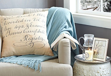 The cozy nook.  Feather your nest for the season at One Kings Lane!