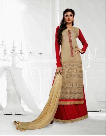 Tina Dutta designer cream & red semi-stitched Salwar Kameez suit