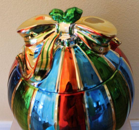 Metallic  Ceramic Christmas Gift  Cookie Jar. by CaliforniaPicks