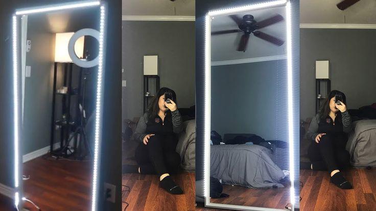 Diy Affordable Light Up Full Body Mirror Youtube Full Body Mirror Body Mirror Diy Mirror With Lights