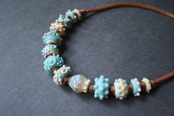 Necklace. Turquoise-ivory matte glass от LikeAGlassShop на Etsy