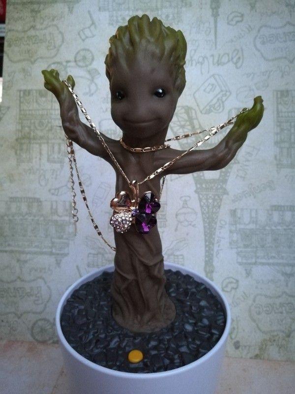 Halskette Kleeblatt Glücksbringer lila violett gold blogger