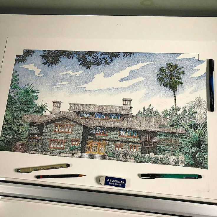 This amazing #architecture #illustration was drawn by Matt Gruneberg (@grunebergart) and depicts the Gamble House in Pasedena California. Designed by Charles Sumner Greene and Henry Mather Greene and constructed between 190809  as a home for David B. Gamble one of the founders of the corporation Procter & Gamble.  This American Craftsman style house is an awesome piece of architectural design and Matt did a wonderful job recreating it on paper. I like how the greens of the house's façade…
