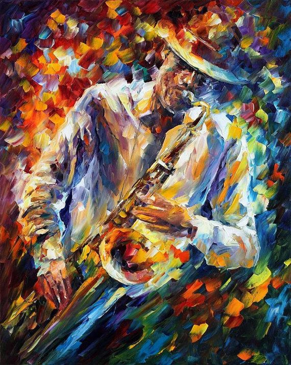 "Late Music — PALETTE KNIFE Figure Of Musician Modern Wall Art Oil Painting On Canvas By Leonid Afremov - Size: 24"" x 30"" (60 cm x 75 cm)"