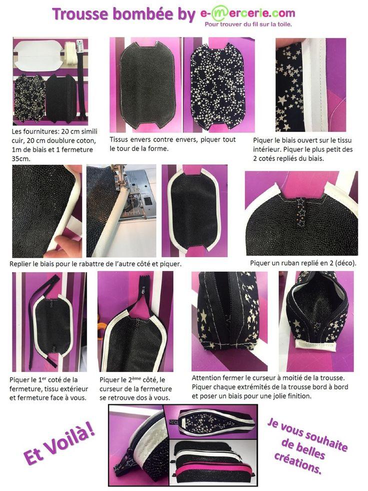 Marre de chercher vos crayons partout au fond du sac à main? Voici une petite trousse en simili cuir, doublure coton et du biais pour de jolies finitions. Tissu et mercerie ici http://www.e-mercerie.com #tuto #couture #diy #emercerie