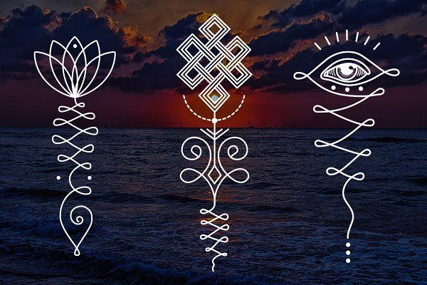 11 Unalome & lotus Sacred symbols by Aleksandra Slowik on @creativemarket