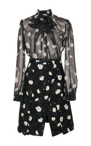 Floral Tie Neck Mini Dress by Carven | Moda Operandi